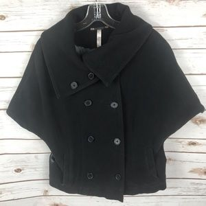 FREE PEOPLE BLK DOUBLED BREASTED CAPE COAT SIZE M